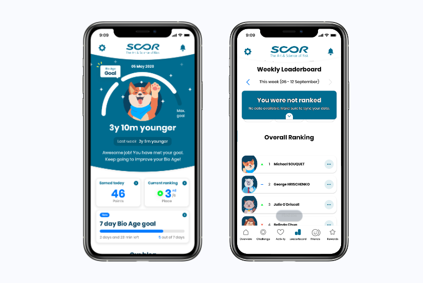 Figure 4: Sample home screen and leaderboard from Good Life SCOR app